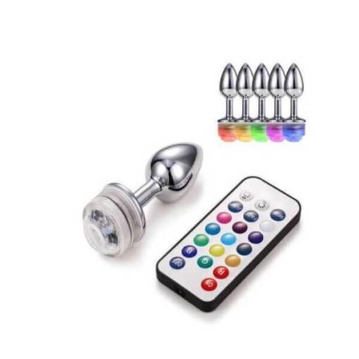 Plug Anal em Alumínio 7 x 2,8 cm com Luz de LED e Controle Remoto