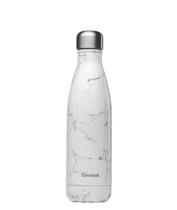 Bouteille isotherme Qwetch marbre blanc 500ml