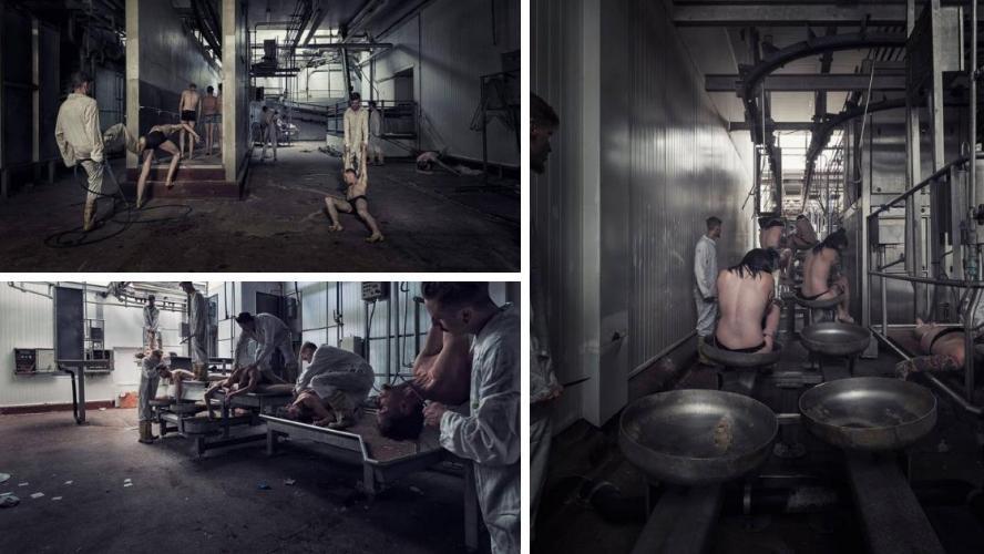 Un photographe belge remplace les animaux d'un abattoir par des humains