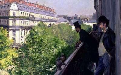 """""""Balkon, bulwar Haussmanna"""" Gustave Caillebotte 1880"""