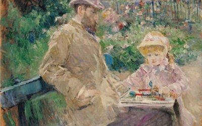 """Eugene Manet z córką w Bougival"" 1881 Berthe Morisot"