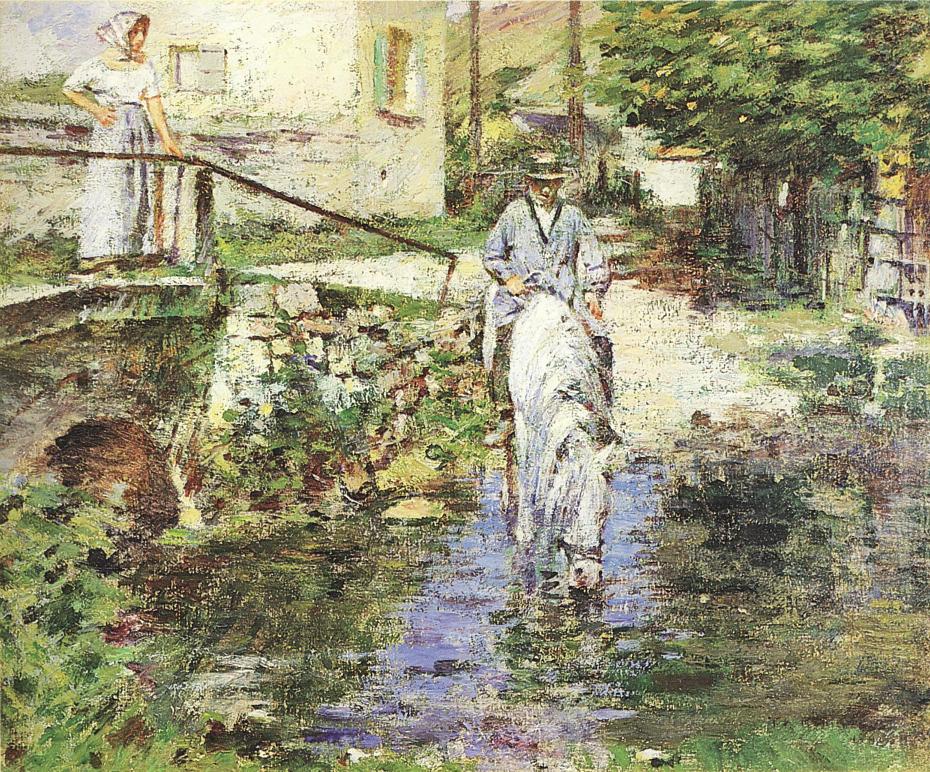 Père Trognon and His Daughter at the Bridge, (1891) Theodore Robinson