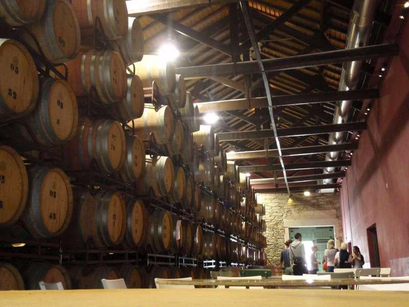 Sudy se stolním vínem v horní hale