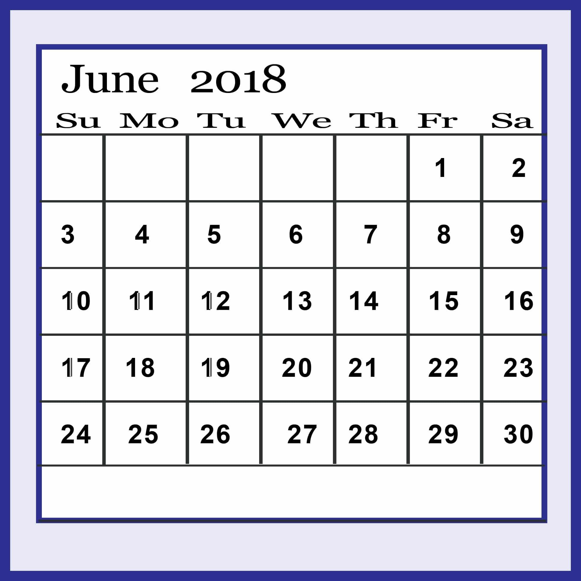 June Calendar 2018 Printable Landscape - Oppidan Library