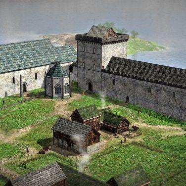 Digital rekonstruksjon av slik arkeologene tror at Kongsgården har sett ut. Foto: Arkikon, Ragnar L. Børsheim