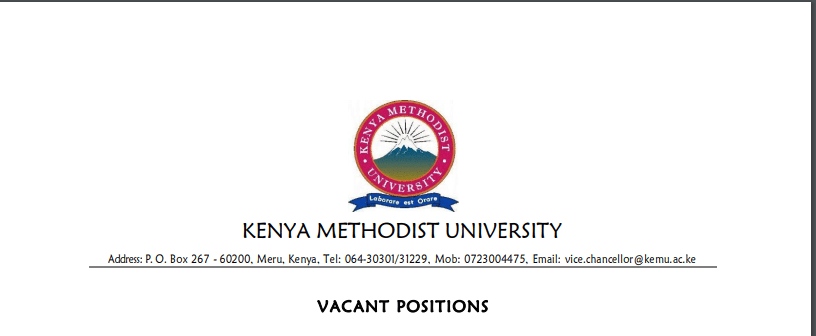 Kenya Methodist University (KeMU) Hiring Lecture In 15