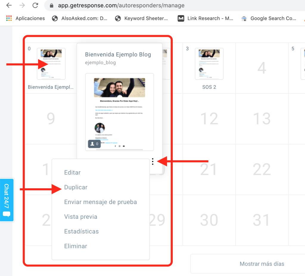 Cómo hacer un email y duplicarlo en GetResponse.