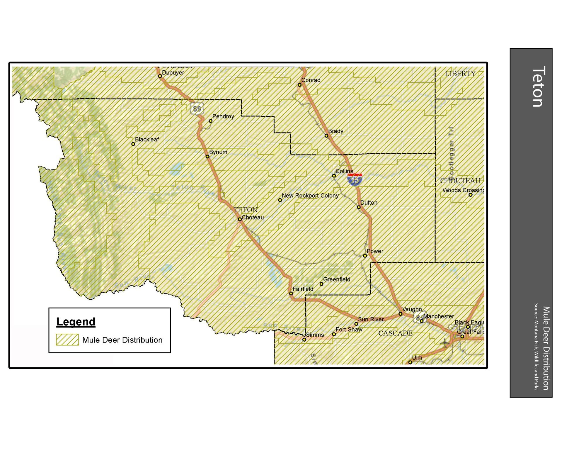 hight resolution of mule deer distribution teton county