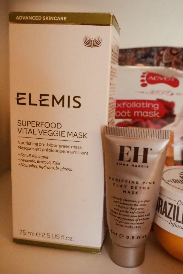 Elemis superfood vital veggie mask and Emma Hardie purifying pink clay detox maxk empties