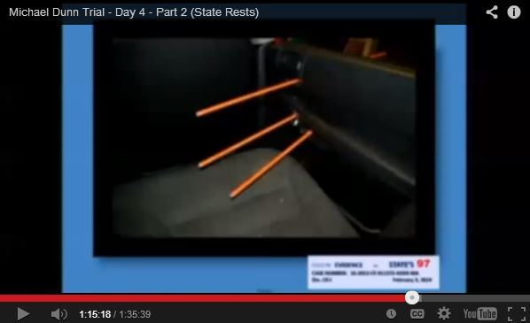 Jordan Davis, Michael Dunn trial. Bullet trajectory entering SUV.