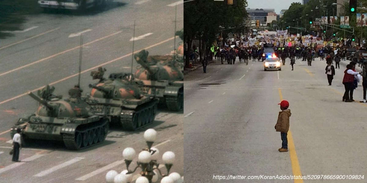 Tiananmen Square in Beijing China and Main Street in Ferguson USA
