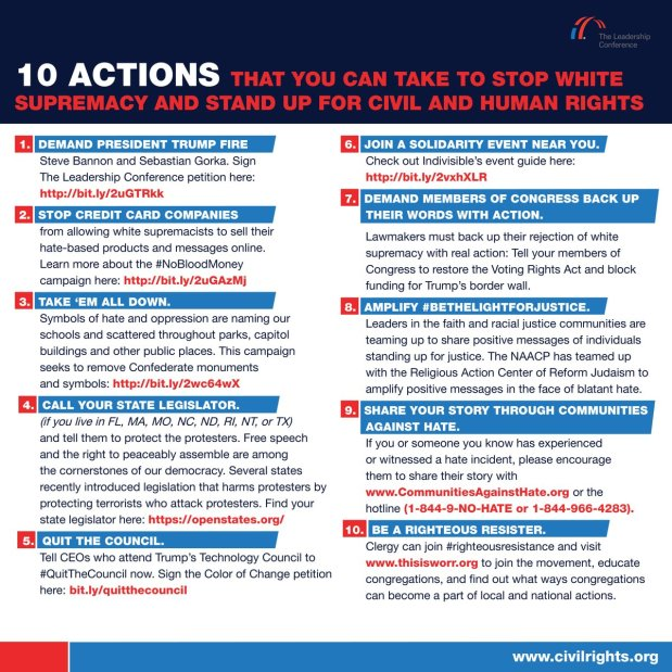 10 actions you can take to stop white supremacy and stand up for civil & human rights