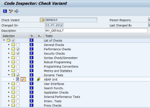 ABAP Unit test - Code inspector settings