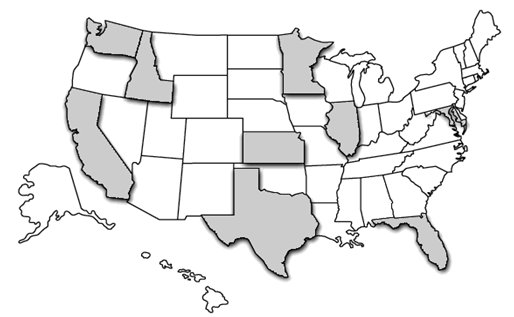 Map of the United States with the States of Washington