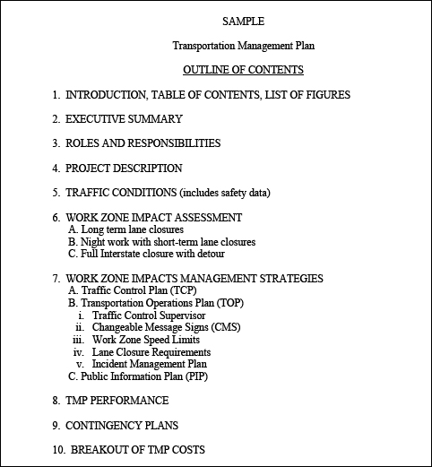 Implementation Of Transportation Management Plans TMPs