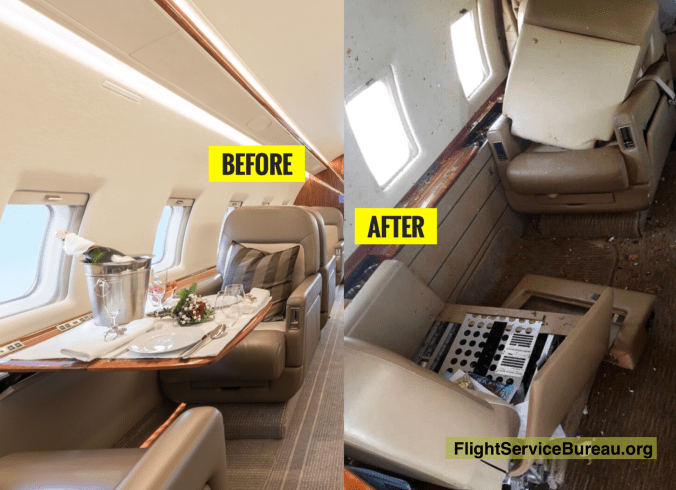 inside the cabin before and after the wake turbulence encounter