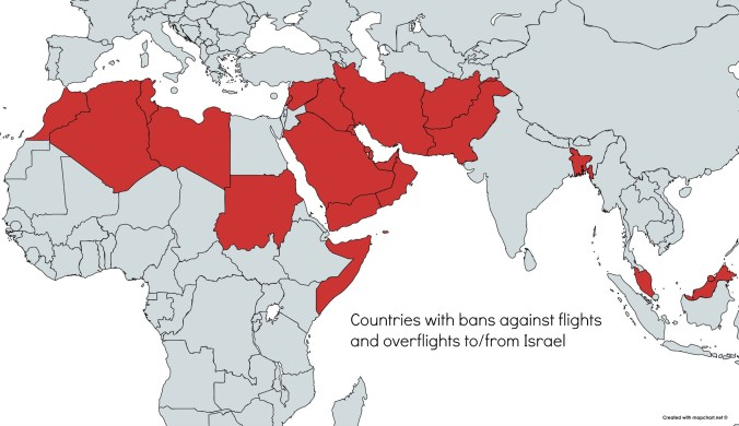Countries with bans on flights to Israel – International Ops 2018