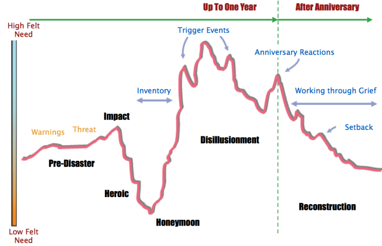 A flipped chart that emphasizes felt emotional needs during disaster phases.