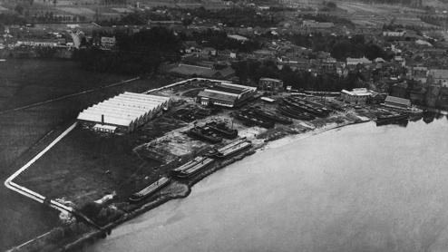 Zicht op de werf in de jaren 20, luchtfoto Sabena