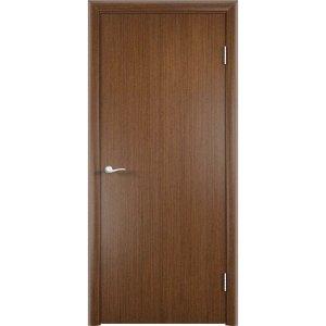 Гладкая шпонированная дверь (темный орех)