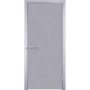 Дверь облицованная пластиком CPL (глухая, лен серый)