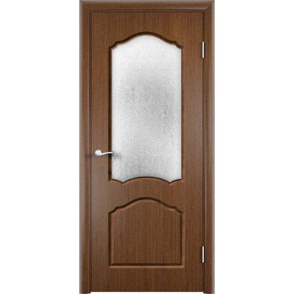 Шпонированная дверь Каролина (со стеклом, темный орех)