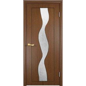 Шпонированная дверь Вираж (со стеклом, темный орех)