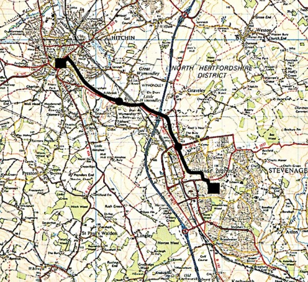 Map of fibre system route between Hitchin & Stevenage