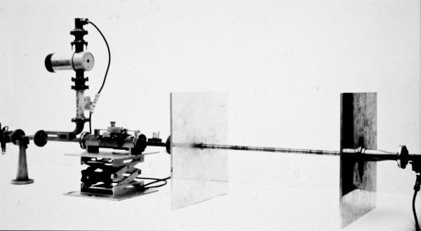 photo of George Hockham's microwave rod test rig