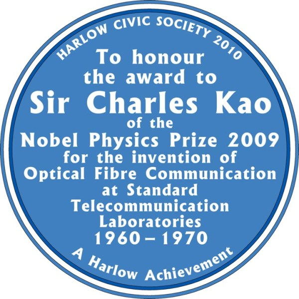 Image of Blue Plaque for Chales Kao in Harlow