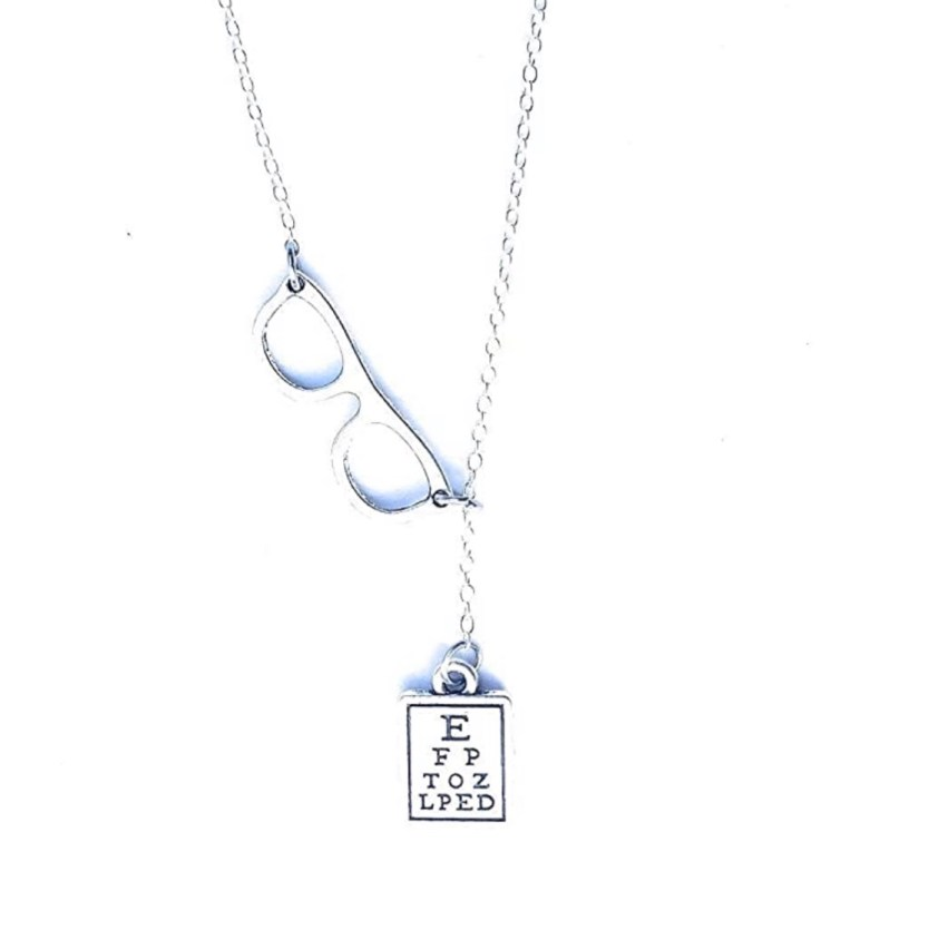 glasses and eyechart necklace