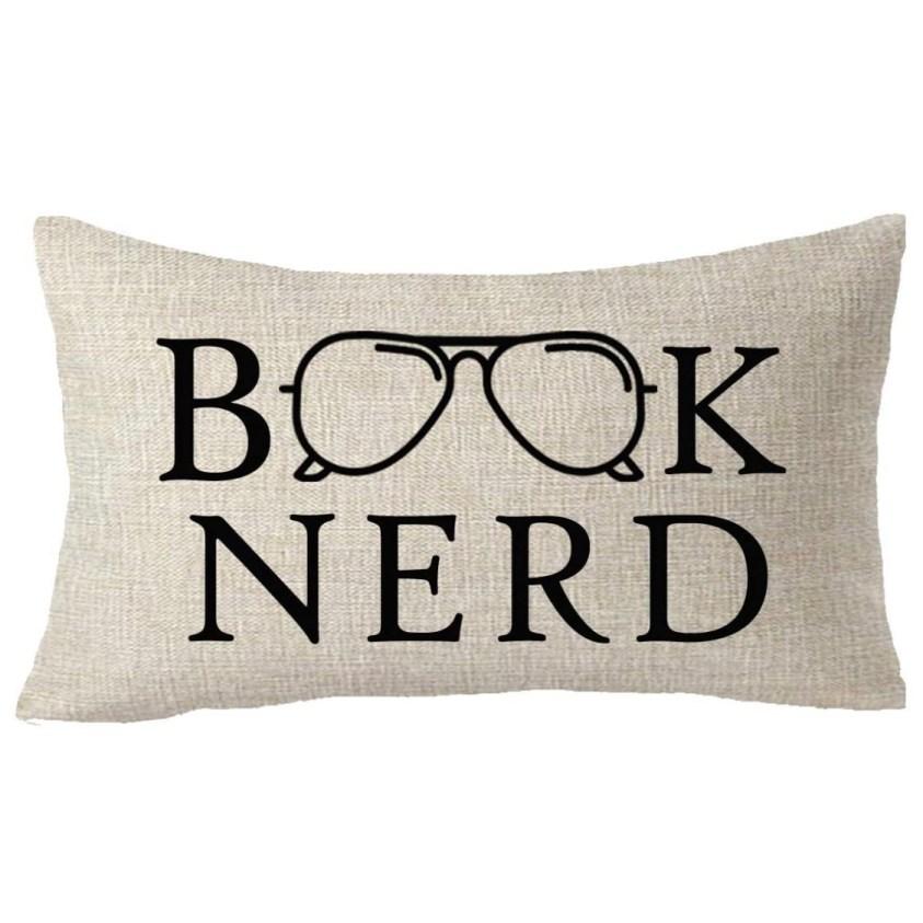 book nerd glasses pillow