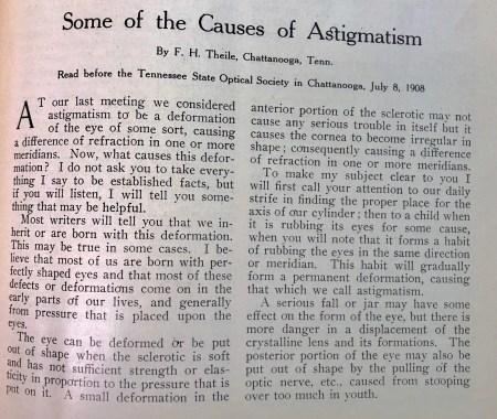 Causes of Astigmatism, 1908