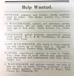 Help Wanted Optician Ad, 1908