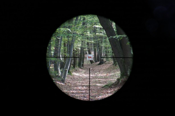 Kahles Helia5 1.6-8x42 4-Dot reticle at 3.0x magnification