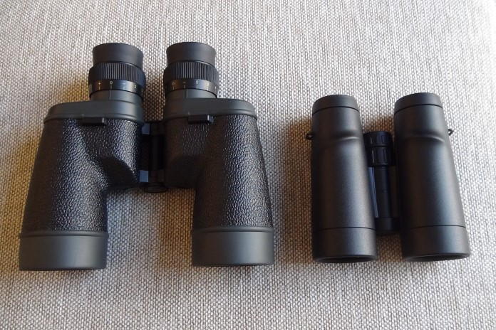 On the left side, there is a binocular with a Porro prism and a focusing system for each eye individually; on the right side, there is a binocular with a Schmidt and Pechan prism and a central focusing system