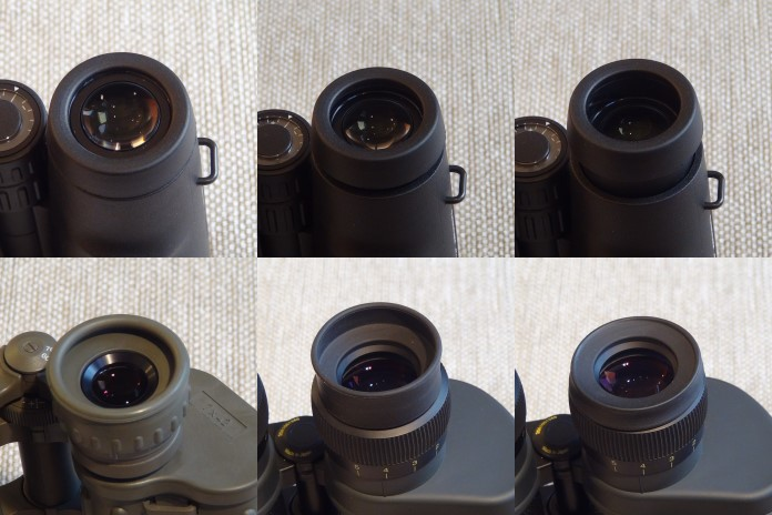 In the upper line, three different eyecup positions can be observed; in the lower line, Porro binoculars' eyecups can be observed (bottom left picture - one single setting on a Porro binocular, difficult to use with glasses ; bottom right picture - multi-stop eyecup on a Porro binoculars, can be used with glasses as well)