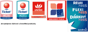 poukázky, benefity Flexi Pass, Unišek, Ticket Benefits Multi
