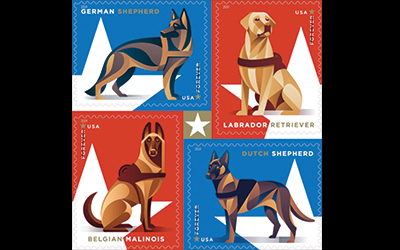 New USPS Stamps: Tribute to Military's Working Dogs