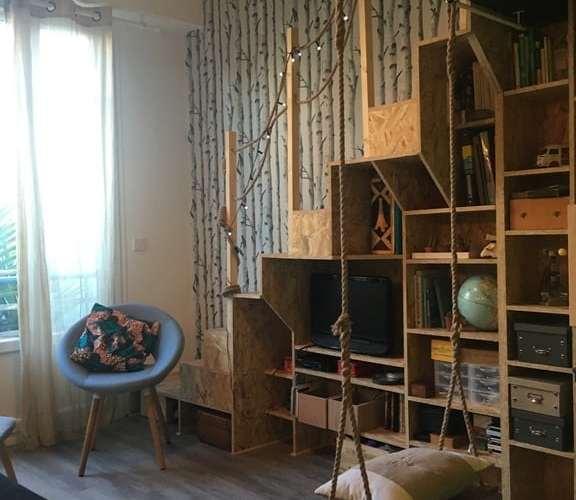 salon tiny house balançoire