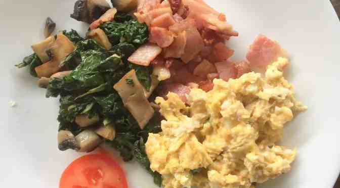 bacon, eggs, spinach and mushroom