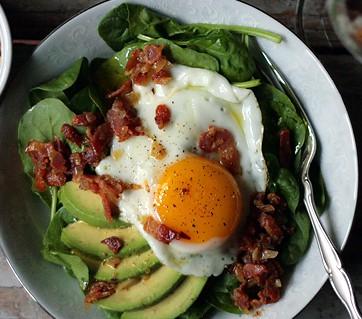 bacon, eggs, avocado and spinach