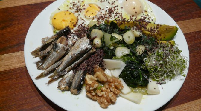 sardines, spinach, eggs and avocado