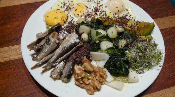sardines, spinach, eggs and avocado