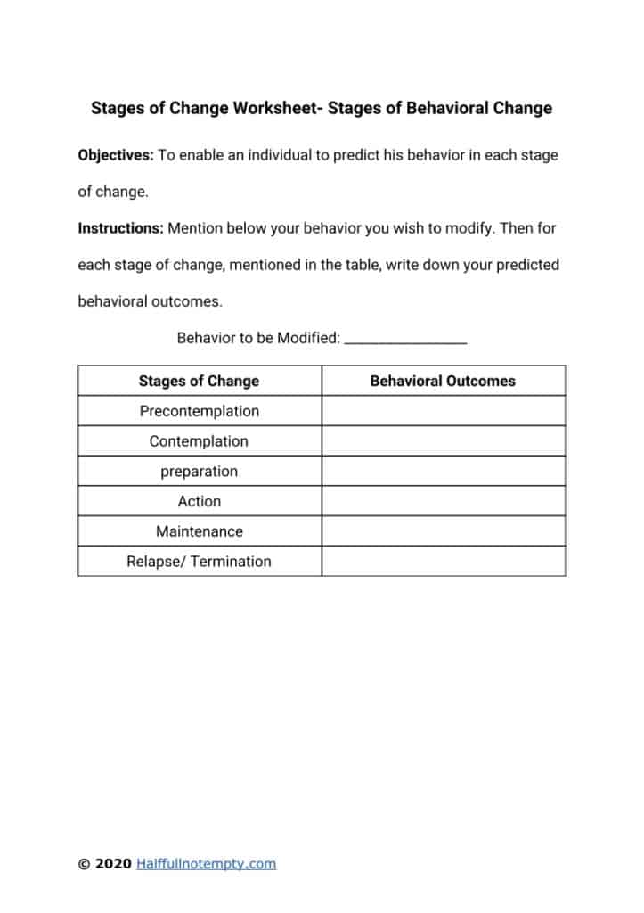 Stages Of Change Worksheet : stages, change, worksheet, Stages, Change, Worksheets, OptimistMinds