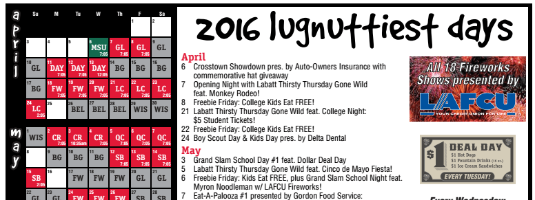 Lansing Lugnuts 2016 Schedule and Group Information