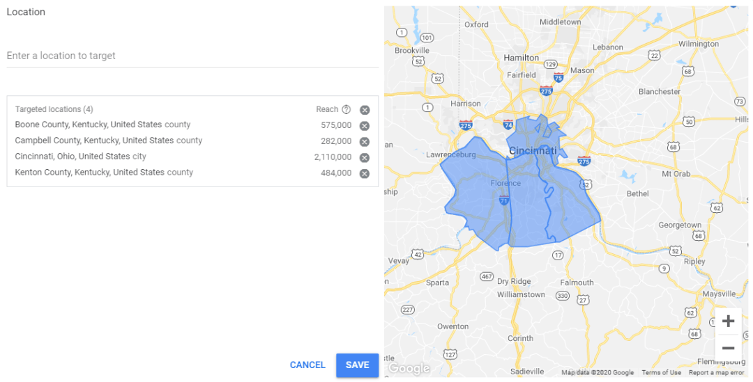 Local Geographic Area Keyword Planner