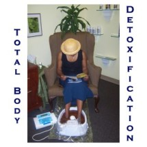 Client relaxing in detox chair