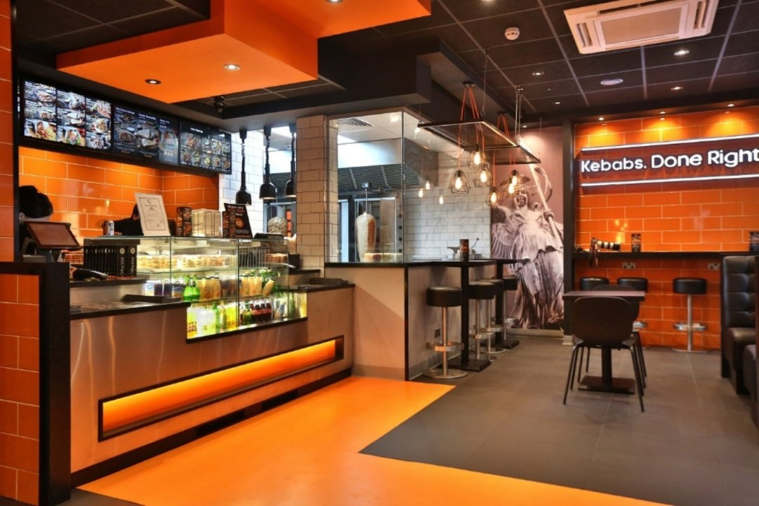 The welcoming and clean interior of a German Doner Kebab Restaurant