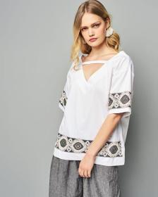 White blouse with embroidery By Nejma
